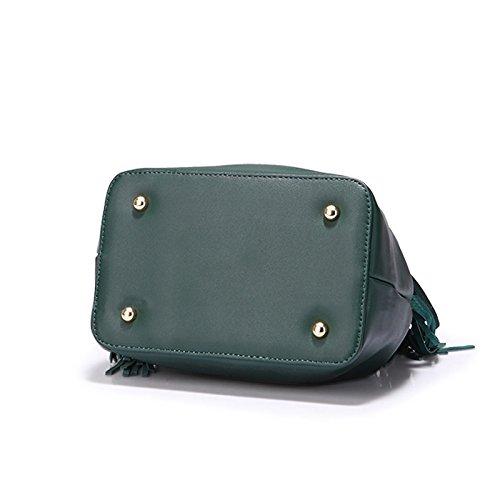 Chain Pack Version Coréenne De La Tassel Bucket Sac Messenger Bag Sac À Main Sacs À Bandoulière Rivets Rétro Vert Style Vert Tassel Chain Bucket Bag