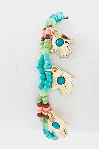 Trendy Fashion Jewelry Beads Double Row Hamsa Charm Stretch Bracelet By Fashion Destination   (Turquoise)