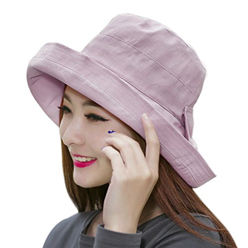 Fashion Bucket Hats for Women Girls, Floppy Anti-UV Sun Protection Cotton Sun Hat Visor Roll-up Brim Travel Packable Beach UPF 50+ Fisherman Hat Outdoor Shopping Fishing Bucket Hat Bonnie Cap Topee