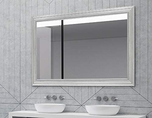 Hitchcock Butterfield Giza II Stepped Modern Silver Framed Wall Mirror, 35.25 W x 45.25 H