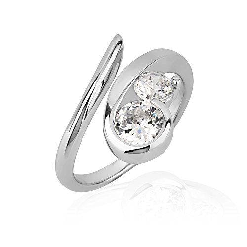 925 Sterling Silver Cubic Zirconia CZ Swirl Two (2) Stone Knuckle Midi or Thumb Ring, Size (Best Chuvora Promise Rings)