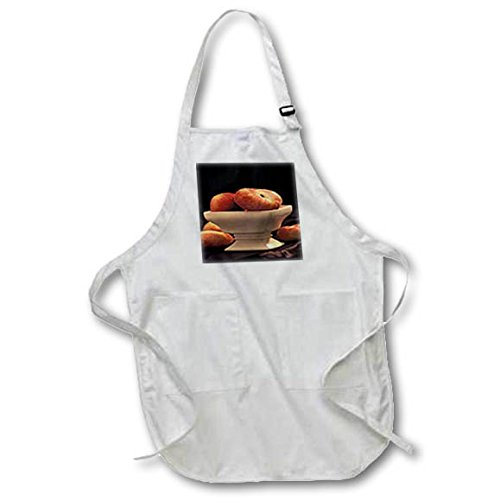 3dRose TDSwhite - Farm and Food - Food Peaches Bowl - Medium Length Apron with Pouch Pockets 22w x 24l (apr_285164_2) ()