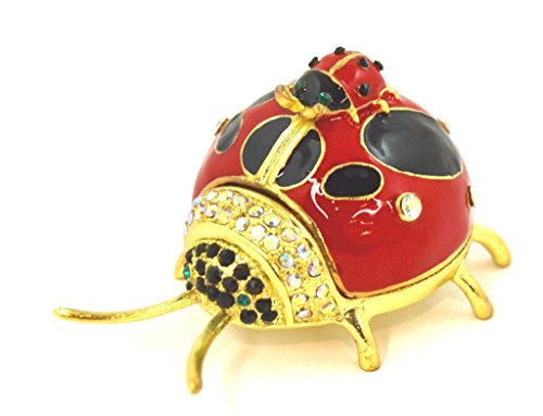 Ladybug Crystal - Ladybug with Baby Trinket Box,Clear Swarovski Crystal, Hand Painted Enamel Red with Black Over Pewter, Inside of Box with Lovely Enamel, L 2.50 x H 1.25 x W 2.00