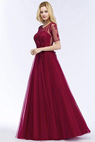 für MisShow Rund Ballkleider Perlenstickerei Altrosa Ausschnitt Abendkleider Cocktailkleid Spitze Hochzeit elegant Tüll Abiballkleid qCCE6wR
