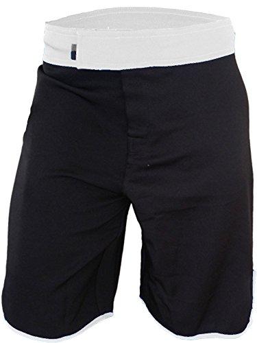 Blank WOD Shorts by Epic MMA Gear (Men 40, Black/White) (Shorts White Mma)