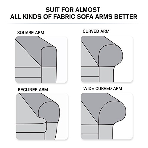 Subrtex Spandex Stretch Armrest Covers Set of 2 (Coffee) by Subrtex (Image #5)