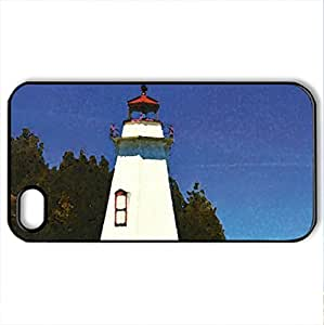 Big Tub Lighthouse, Ontario, Canada - Case Cover for iPhone 4 and 4s (Lighthouses Series, Watercolor style, Black)