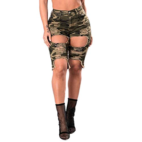 ❤️ EDC 2019 Summer Womens Sexy Hole Leggings Pants Casual Loose Elastic Stretchy Denim Ripped Jeans (Camouflage, XL)