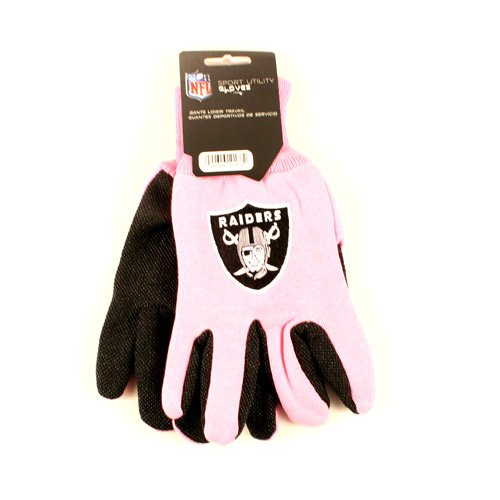NFL - MLB - NCAA All Purpose Team Two Tone Sport Utility Grip Gloves (PINK) (Oakland Raiders - NFL) ()