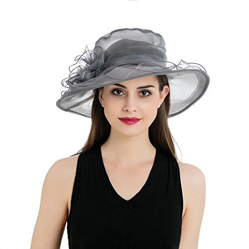 Dantiya Women's Colorful Organza Flower Brim Kentucky Derby Hat (Grey)