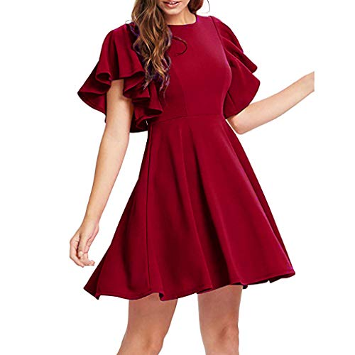 Ladies' Cocktail Dress Ruffled Short-Sleeved Party A-line Skirt