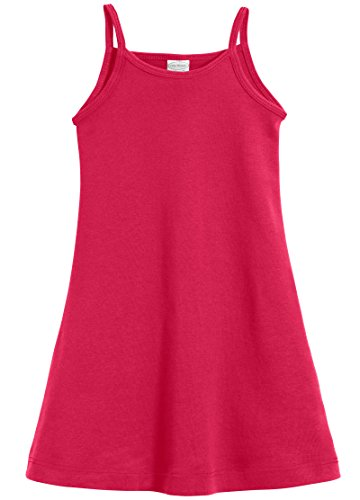 City Threads Big Girls' Summer Dress Cami Camisole Spaghetti Strap Maxi Slip No Sleeve Dress For Sensitive Skin or SPD Sensory Friendly, Candy Apple, -