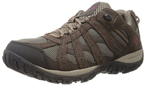 Columbia Men's Redmond Waterproof Wide Hiking Shoe, Mud, Garnet Red, 10 2E US