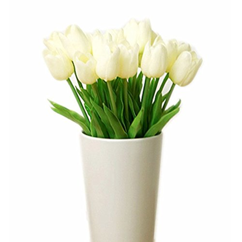Bringsine Premium Artificial Flowers Real Touch Mini PU Tulips Bouquet Artificial Plants for Wedding Room Home Hotel Party Event Christmas Decor Multi Colors Available (10pcs, Cream white)