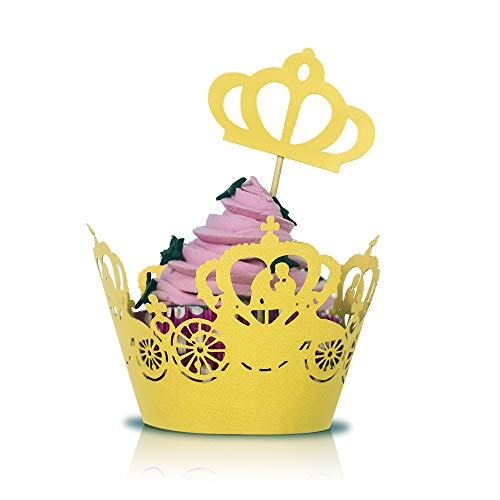 60 pcs Crown Cupcake Toppers and Wrappers, laser cut cupcake wrappers for Party, Birthday, Baby Shower, Wedding, Decoration & More – DIY Cup Cake Birthday Party Supplies, Yellow