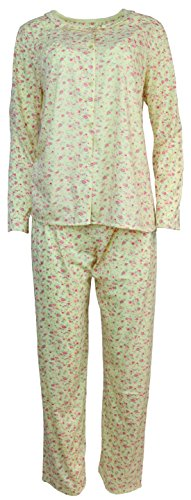 Sindrella Women's Plus Size Cotton Blend Pajama Set, Mini Roses (3X, Yellow) ()