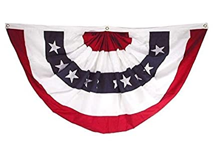 860259d260 18x36 Inches 1.5x3 Ft Double Sided US American Flag Bunting Half Fan Fully  Pleated Poly/Cotton Windstrong® Flag SATISFACTION GUARANTEED MADE IN THE ...