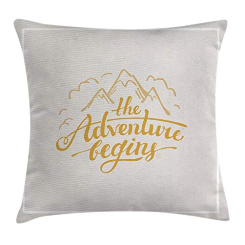 """Ambesonne Adventure Throw Pillow Cushion Cover, Vibrant Mountain View and The Adventure Begins Words Travel Hand Drawn, Decorative Square Accent Pillow Case, 28"""" X 28"""", Yellow Apricot"""