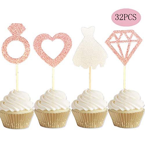 ALISSAR 32-Pack Rose Gold Bridal Shower Wedding Cupcake