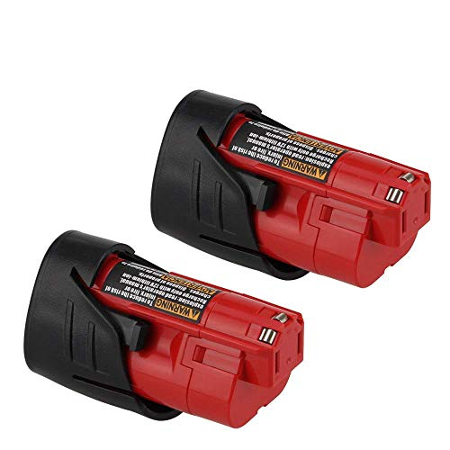2Packs 12V 3000mAh Lithium-ion Replacement for Milwaukee M12 Battery 48-11-2402 48-11-2440 48-11-2411 48-11-2401 XC Cordless Drill Batteries ()