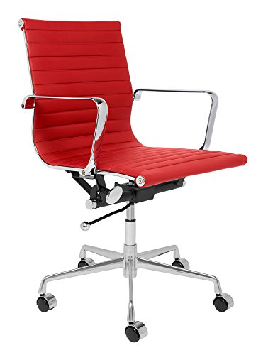 SOHO Eames Style Ribbed Management Office Chair (Red) (Red Leather Contemporary Chair)