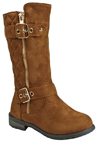 Kids Girls Mango23 Tan Faux Suede Dual Buckle Zipper Quilted Mid Calf Motorcycle Boots-3 for $<!--$19.99-->