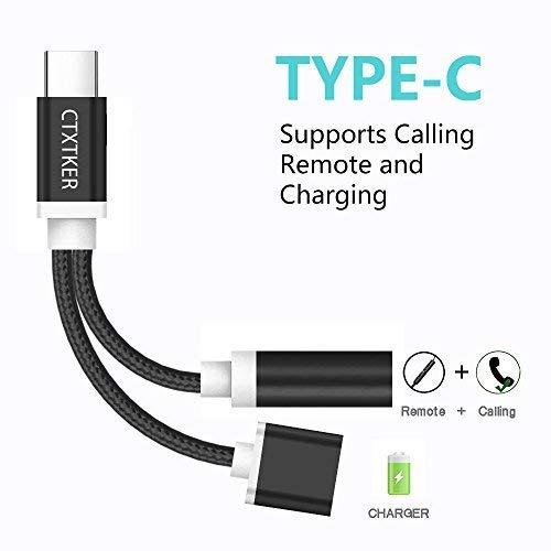 Type C Splitter Cable, CTXTKER Usbc Audio Adapter Charger for Motorola Moto Z/Z Force, Huawei Mate 10 Pro/P20/P20 Pro, Xiaomi 6/Note 3, Nubia Z17(Black)