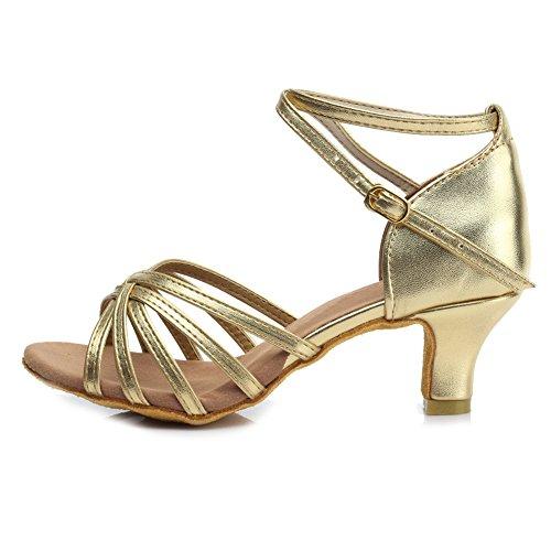 de SWDZM Ballroom de modelo Tacón Mujer Satén 5cm Baile de ES Baile Zapatos 213 Zapatos Estándar Gold Latino qgr0qw