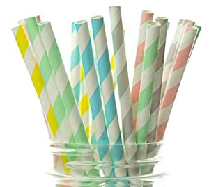 Easter Party Supplies, Easter Straws (25 Pack) - Pastel Party Decorations, Easter Basket Fillers & Easter Egg Hunt Supplies, Easter Party Favors