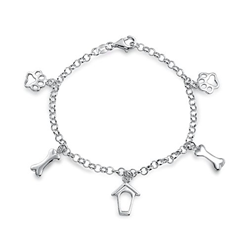(Bling Jewelry 925 Silver Dog Charms Paw Print Bone Doghouse Bracelet 7.5in)