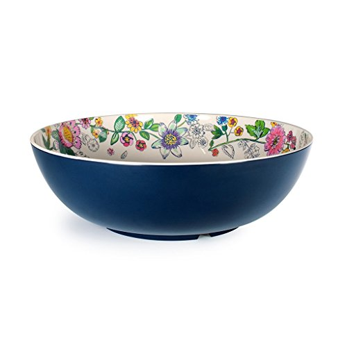Vera Bradley Large Melamine Serving Bowl, Dishwasher Safe, Coral Floral (Blue)
