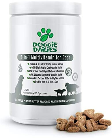Doggie Dailies 5 in 1 Multivitamin for Dogs, 225 Soft Chews, Dog Multivitamin for Skin and Coat Health, Joint Health, Improved Digestion, Heart Health and Enhanced Immunity, Made in The USA