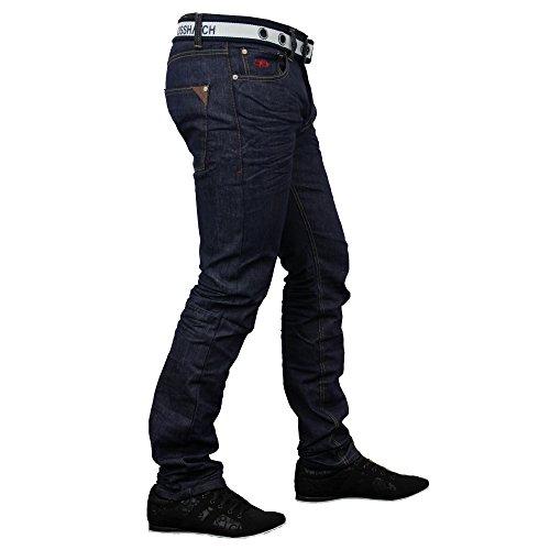 Herren Jeans Denim Ringspun Hose GRATIS GÜRTEL Straight Leg Designer - Gamitto - Dunkel Waschung, 32 regulär