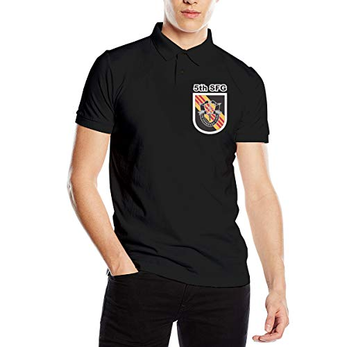 US Army 5th Special Forces Group Men's Classic Golf Shirts Short Sleeve Polo Shirt Black