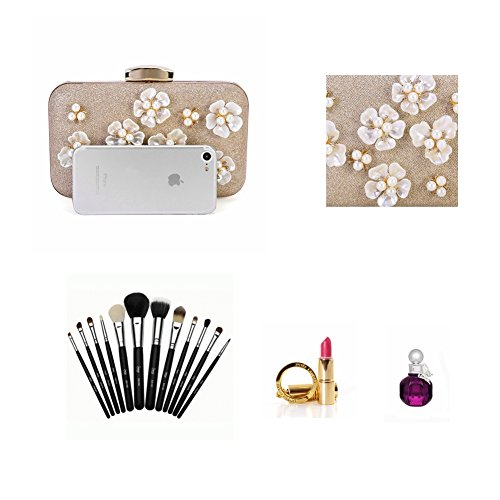 Wedding Purse Chichitop Design Clutch Beaded Floral Bags Women's Apricot Evening t0q48rW0n