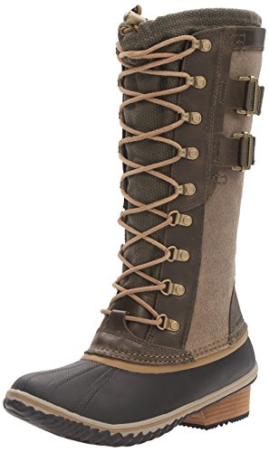 SOREL Women's Conquest Carly II Snow Boot, Peat Moss, Glare, 7.5 B - Snow Glare