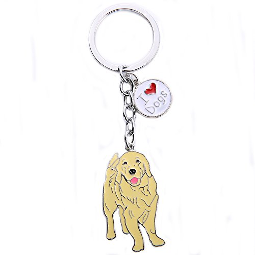 (BBEART Dog Keychain ring, Cool Cute Pet Dog Keyring Bag Charm Mini Metal Key Ring Keyfob (Golden Retriever)