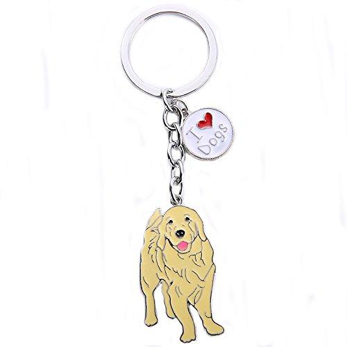 BBEART Dog Keychain ring, Cool Cute Pet Dog Keyring Bag Charm Mini Metal Key Ring Keyfob (Golden Retriever 2)