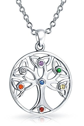 Family Tree of Life Pendant Necklace Multicolor CZ Sterling Silver 18 Inch Chain ()