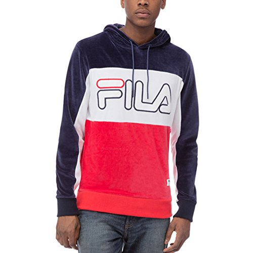 (Fila Men's Baggio Velour Hoody Shirt, Navy, White, Chinese Red, 2XL)