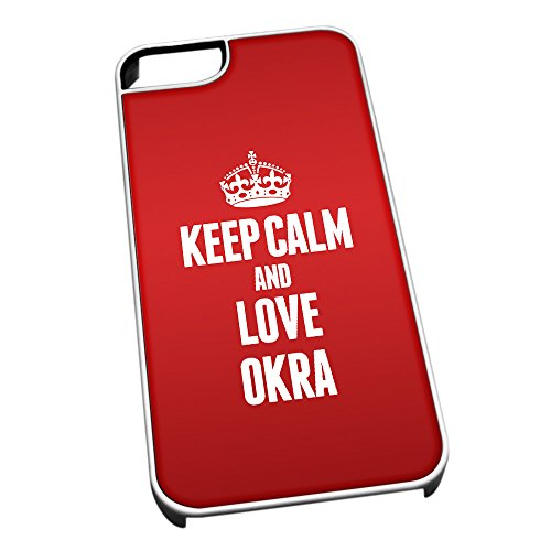 Bianco cover per iPhone 5/5S 1323Red Keep Calm and Love Okra