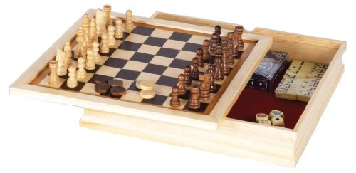 GREAT 6 - IN - 1 GAME SET: Chess, Checkers, Backgammon, Poker Dice, Dominoes, and Playing Cards! (Dominoes Game Set)