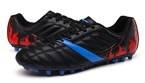 NEWZCERS Unisex Erwachsene Kinder Gleitschutz Rasen Trainern Fußball schnüren sich Schuh Schwarz