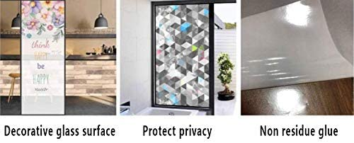 Decorative Privacy Window Film Colorful Dots with Halftone Effect Illusion of the Gradient Dynamic Fantasy Artistic Decorative No-Glue Self Static Cling for Home Bedroom Bathroom Kitchen Office Decor
