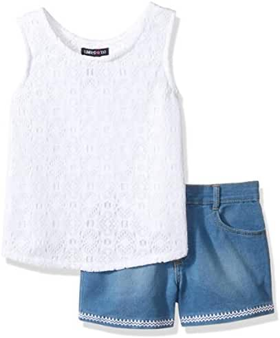 Limited Too Girls' 2 Piece Lace Wrap Tank Top and Stretch Denim Short