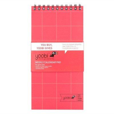 Undated Weekly Calendar Pad Coral Grid - Yoobi153; Multicolor