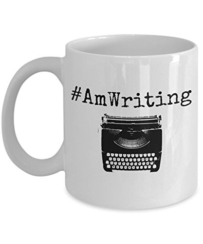 Writer Mug - #AmWriting Funny Quote Author Gift Coffee Mug - Inspirational Novelty Gifts For Writers, Authors, Poets, Musicians, Bloggers, Journalists, Teachers and College Students (11 oz, White)