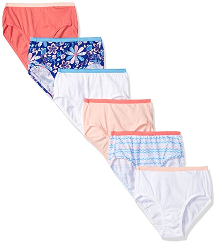 Hanes Girls' Cotton Brief 6-Pack, Assorted, 12