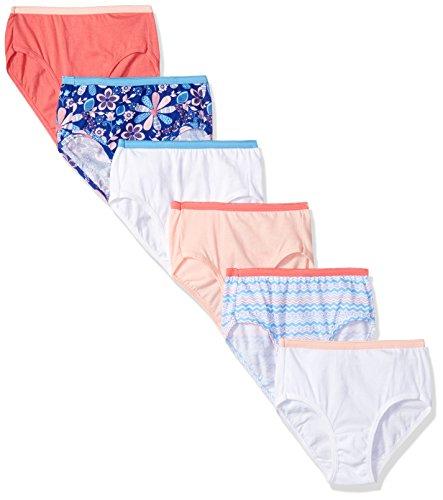 Hanes Big Girls' Cotton Brief 6-Pack, Assorted, 16 -