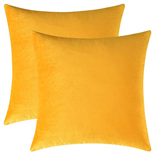Mixhug Set of 2 Cozy Velvet Square Decorative Throw Pillow Covers for Couch and Bed, Mustard Yellow, 18 x 18 Inches